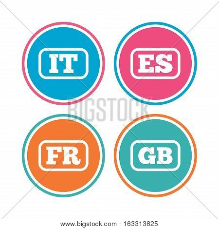 Language icons. IT, ES, FR and GB translation symbols. Italy, Spain, France and England languages. Colored circle buttons. Vector