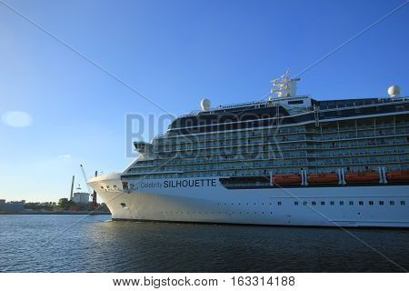 Velsen The Netherlands -August 6th 2016: Celebrity Silhouette is a Solstice-class cruise ship owned and operated by Celebrity Cruises built by Meyer Werft Papenburg.