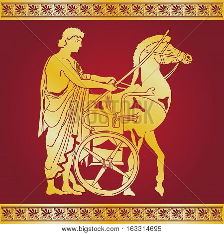 Greek style drawing. Warrior in tunic equips horses. Gold pattern on a red background.