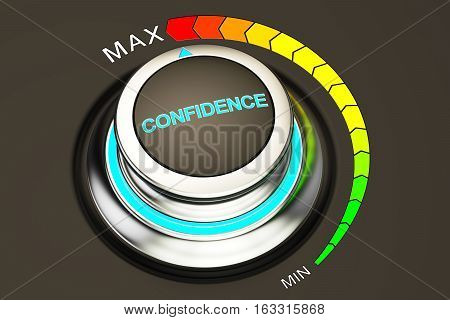 high level of confidence concept knob. 3D rendering