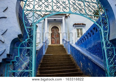 Blue medina of Chefchaouen city in Morocco North Africa