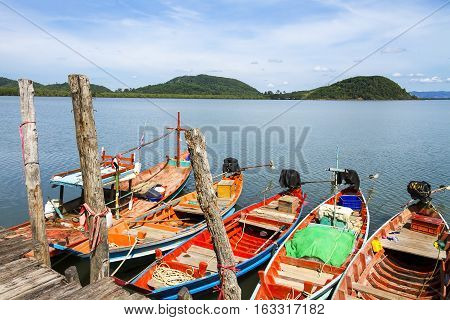 Small boat and natural on Kram bay at beach Chumphon Province Thailand