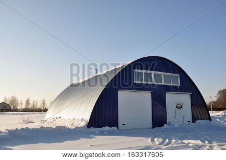 The hangar in the countryside in Russia.