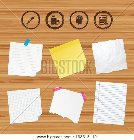 Business paper banners with notes. Medicine icons. Medical tablets bottle, head with brain, prescription Rx and syringe signs. Pharmacy or medicine symbol. Sticky colorful tape. Vector