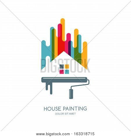 Vector Logo, Label Or Emblem Design. House Painting Service, Decor And Repair Multicolor Isolated Ic