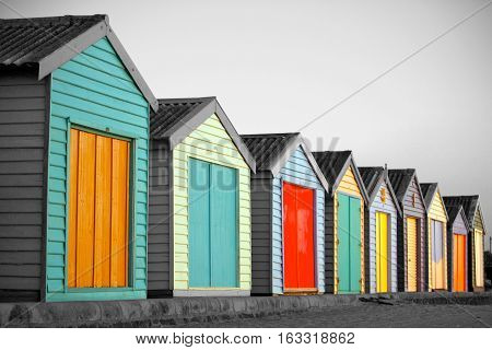 Bright Painted Houses at the beach in Melbourne, Australia
