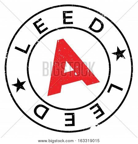 Leed stamp. Grunge design with dust scratches. Effects can be easily removed for a clean, crisp look. Color is easily changed.