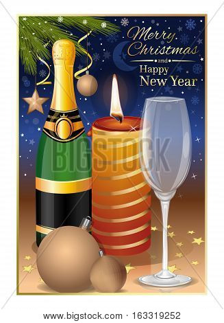 Christmas still life. Greeting card with a traditional wish - Merry Christmas and Happy New Year. Vector illustration
