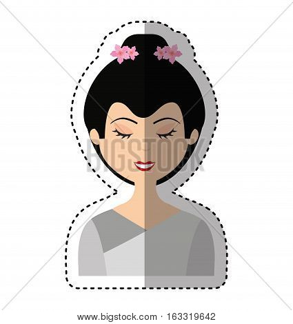 cute geisha character icon vector illustration design