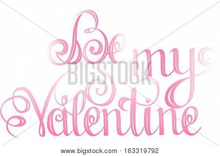 Happy valentines day Lettering design elements for cards. Doodles curls. Vector illustration. Be my Valentine.