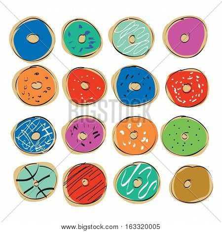 hand drawn set of yummy colorful donuts isolated on white background. vector illustration.