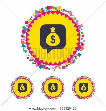 Web buttons with confetti pieces. Money bag icons. Dollar, Euro, Pound and Yen speech bubbles symbols. USD, EUR, GBP and JPY currency signs. Bright stylish design. Vector