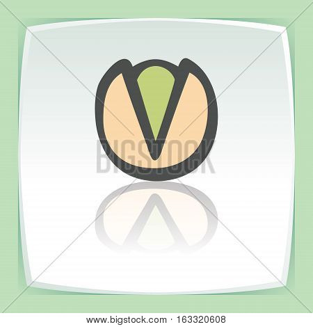 Vector outline pistachio food icon on white flat square plate. Elements for mobile concepts and web apps. Modern infographic logo and pictogram.