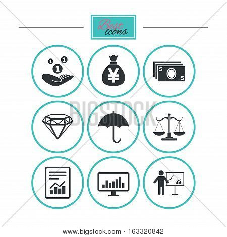 Money, cash and finance icons. Money savings, justice scales and report signs. Presentation, analysis and umbrella symbols. Round flat buttons with icons. Vector