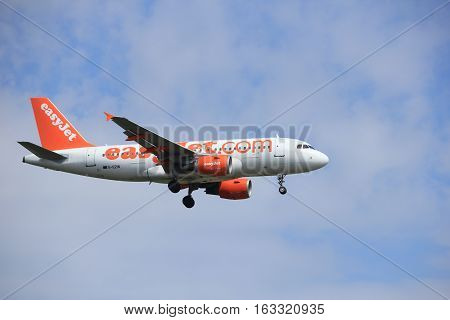 Amsterdam the Netherlands - July 21st 2016: G-EZIN easyJet Airbus A319-111 approaching Polderbaan runway at Schiphol Amsterdam Airport arriving from Glasgow Scotland