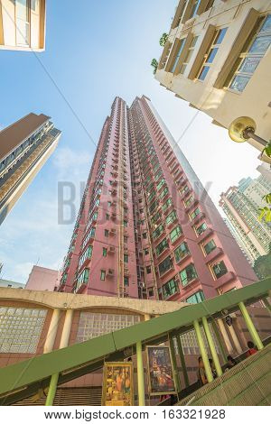 Hong Kong, China - December 4, 2016: Perspective view of Central-Mid-levels escalator in Shelley Street in historic Soho district, is a system of escalators and walkways connecting Central to Western.