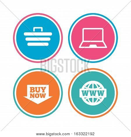 Online shopping icons. Notebook pc, shopping cart, buy now arrow and internet signs. WWW globe symbol. Colored circle buttons. Vector
