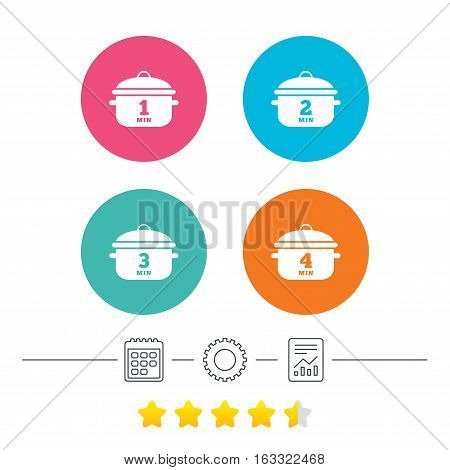 Cooking pan icons. Boil 1, 2, 3 and 4 minutes signs. Stew food symbol. Calendar, cogwheel and report linear icons. Star vote ranking. Vector