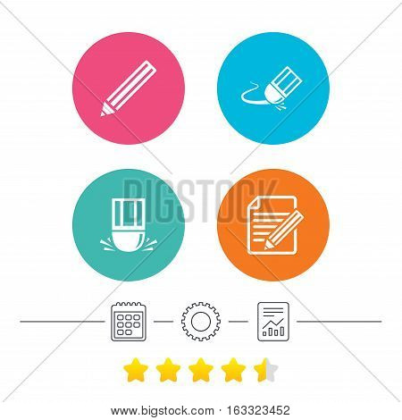 Pencil icon. Edit document file. Eraser sign. Correct drawing symbol. Calendar, cogwheel and report linear icons. Star vote ranking. Vector