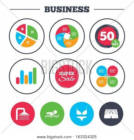 Business pie chart. Growth graph. Swimming pool icons. Shower water drops and swimwear symbols. Human swims in sea waves sign. Trunks and women underwear. Super sale and discount buttons. Vector