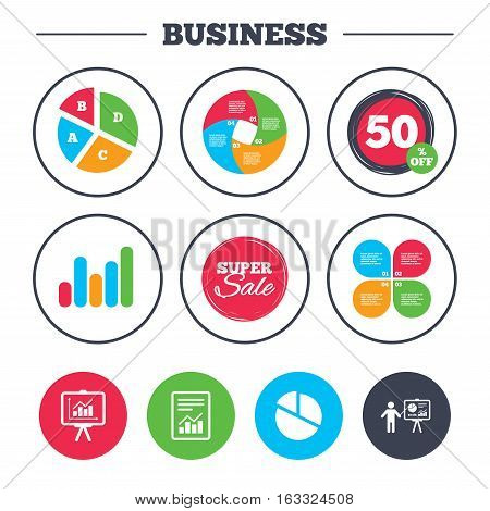 Business pie chart. Growth graph. File document with diagram. Pie chart icon. Presentation billboard symbol. Supply and demand. Super sale and discount buttons. Vector