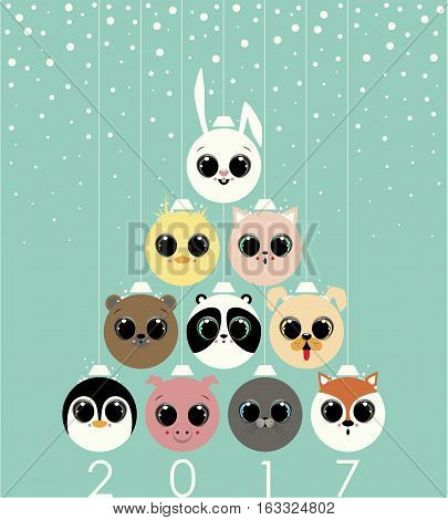 Christmas Tree made by the Christmas balls with the animals faces.The rabbit,duck, cat, bear, panda, puppy dog, penguin, pig, seal and fox. At the bottom of the image the numbers two,zero,one,seven.
