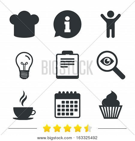 Coffee cup icon. Chef hat symbol. Muffin cupcake signs. Document file. Information, light bulb and calendar icons. Investigate magnifier. Vector