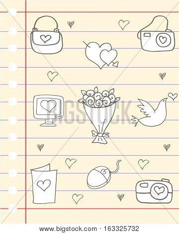 Illustartion love theme vector art collection stock