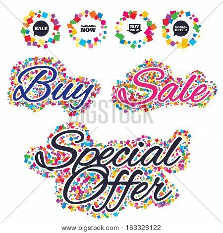Sale confetti labels and banners. Sale icons. Special offer speech bubbles symbols. Buy now arrow shopping signs. Available now. Special offer sticker. Vector
