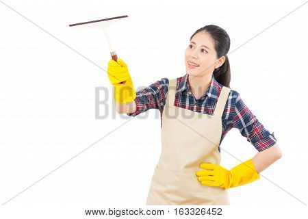 Woman Cleaning Window With Glass Wiper