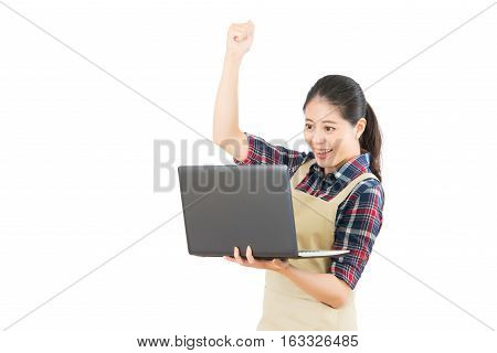 Housewife Using Computer Successful
