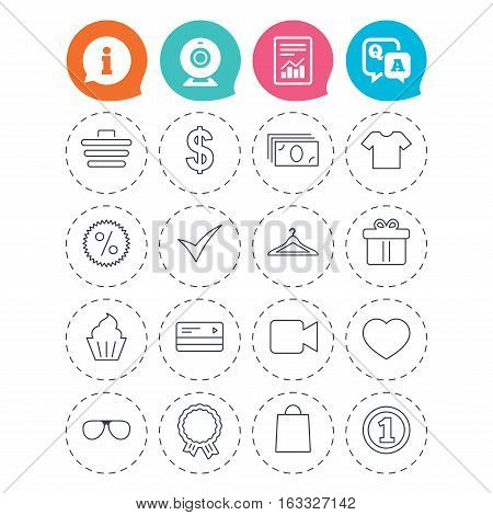 Shopping icons. Shopping cart, dollar currency and cash money. Shirt clothes, gift box and hanger. Credit or debit card. Information, question and answer icons. Web camera, report signs. Vector