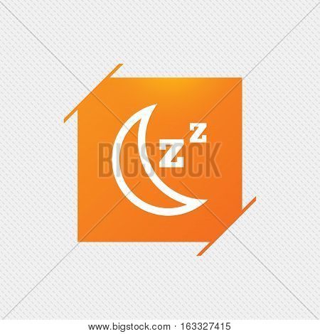 Sleep sign icon. Moon with zzz button. Standby. Orange square label on pattern. Vector