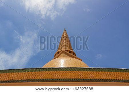 Golden stupa in Nakhon Pathom province of Thailand
