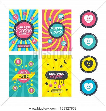 Sale website banner templates. Heart smile face icons. Happy, sad, cry signs. Happy smiley chat symbol. Sadness depression and crying signs. Ads promotional material. Vector