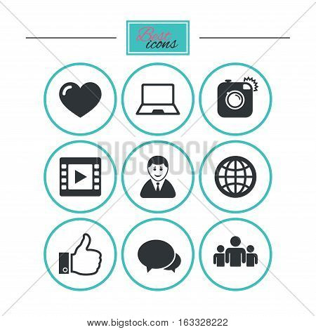 Social media icons. Video, share and chat signs. Human, photo camera and like symbols. Round flat buttons with icons. Vector