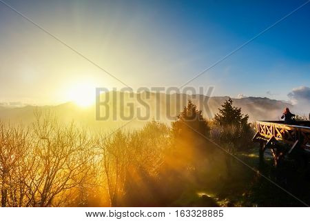 Beautiful morning sunrise dramatic cloud of sea and Yushan mounatin under bright blue sky in Alishan(Ali mountain) National Park Taiwan