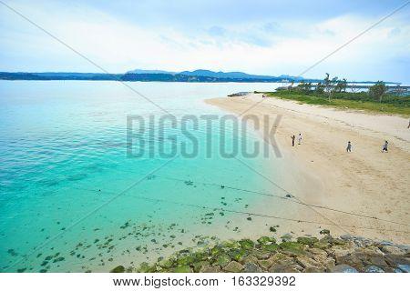 Panoramic bird eye aerial view of beautiful sea level with fantasy blue sky in Kouri island Okinawa Japan