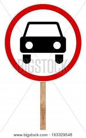 Prohibitory traffic sign isolated on white illustration - Movement Car Prohibition