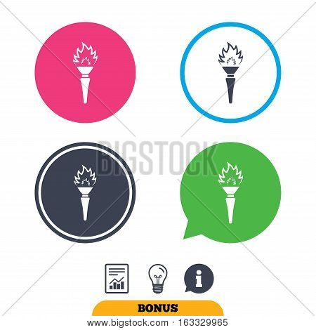Torch flame sign icon. Fire flaming symbol. Report document, information sign and light bulb icons. Vector