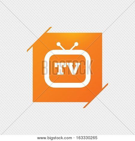 Retro TV sign icon. Television set symbol. Orange square label on pattern. Vector