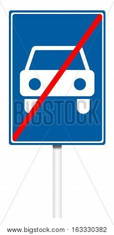 Informative sign isolated on white illustration - End of Road for cars