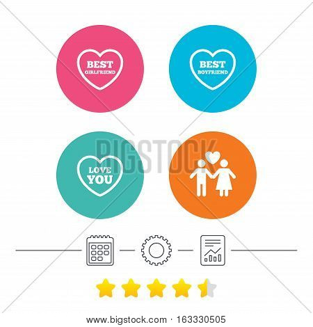 Valentine day love icons. Best girlfriend and boyfriend symbol. Couple lovers sign. Calendar, cogwheel and report linear icons. Star vote ranking. Vector