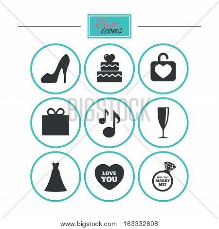 Wedding, engagement icons. Cake with heart, gift box and brilliant signs. Dress, shoes and musical notes symbols. Round flat buttons with icons. Vector