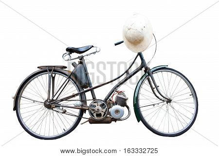 Retro styled of bicycle and classic white hat isolated on a white background.Saved with clipping path.