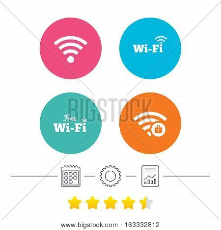 Free Wifi Wireless Network icons. Wi-fi zone locked symbols. Password protected Wi-fi sign. Calendar, cogwheel and report linear icons. Star vote ranking. Vector
