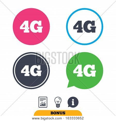 4G sign icon. Mobile telecommunications technology symbol. Report document, information sign and light bulb icons. Vector