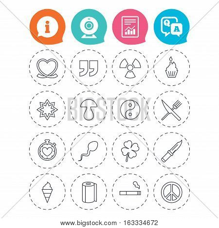 Universal icons. Quotes, ribbon heart and cake. Clover, mushroom and ice cream. Smoking, knife and fork. Information, question and answer icons. Web camera, report signs. Vector