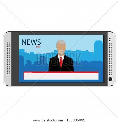 News app on smartphone screen. Electronic mass media. Anchorman on tv broadcast news. Media on television concept. Breaking news. TV News with man newsreader or journalist concept background