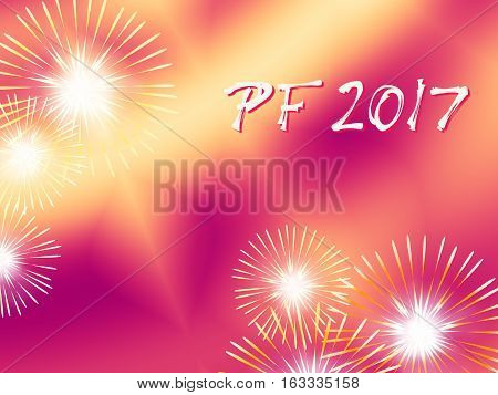 Red and yellow color PF 2017 good luck wishing card for New Year based on a blended fractal background with several warm color fireworks and funky white and red text.